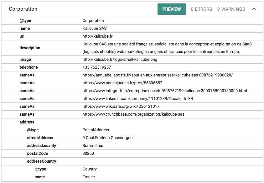 Balisage testé dans l'outil de test des données structurées de Google