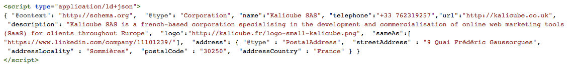 JSON-LD Schema markup for Kalicube