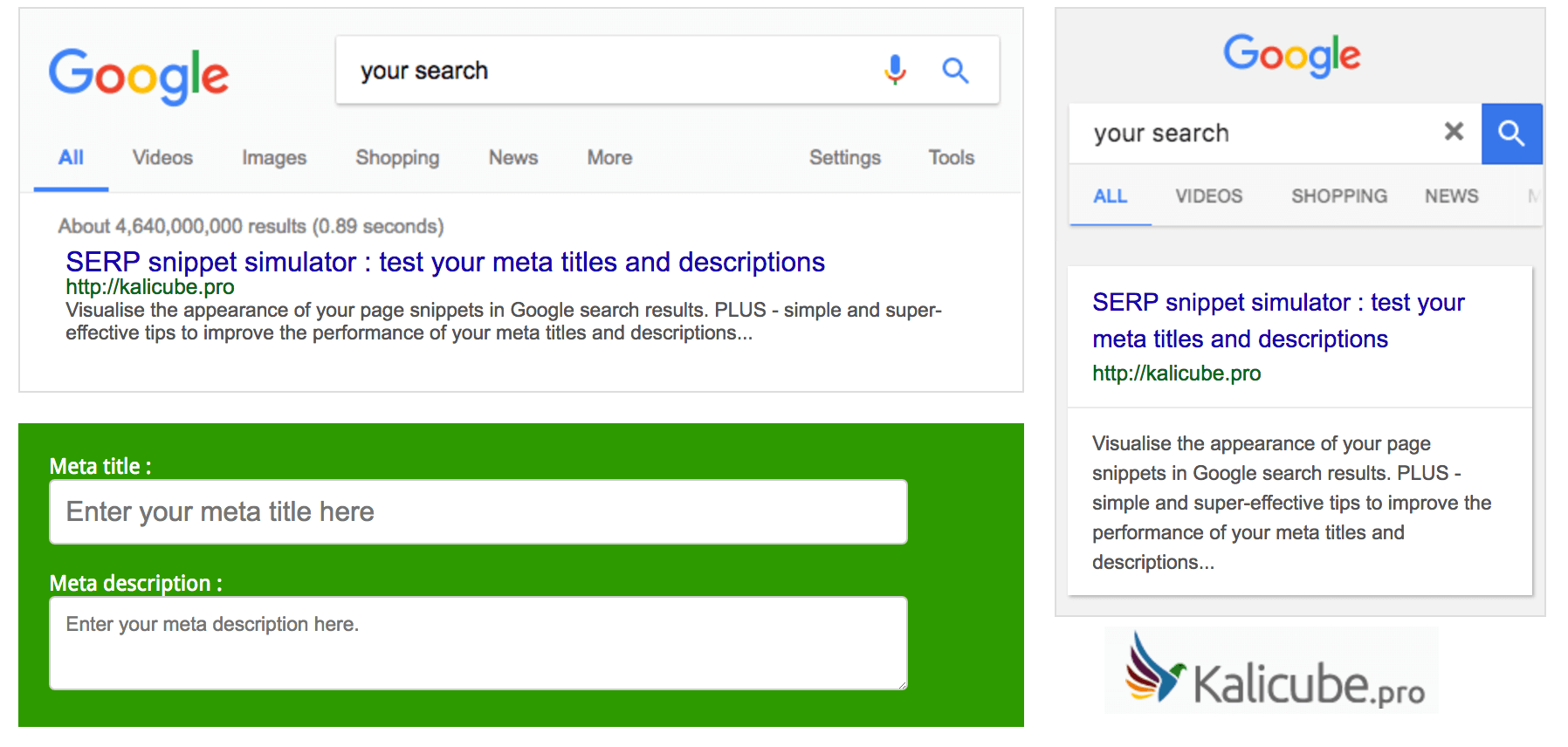 Kalicube.pro SERP Snippet Simulator